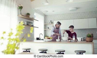 pancakes., cuisine, père, fils, intérieur, mûrir, petit, confection
