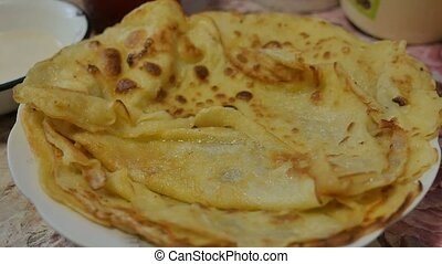 pancakes delicious on a plate slow motion video