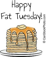 Pancakes hand drawn illustration for Fat Tuesday