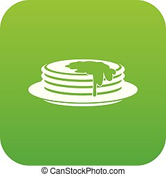 Pancakes icon digital green for any design isolated on white...