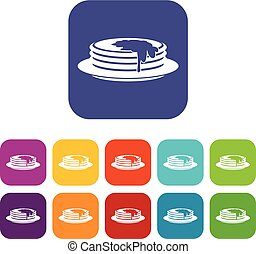 Pancakes icons set vector illustration in flat style in...