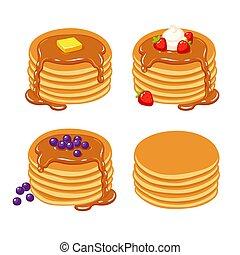 Pancakes illustration set