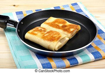 pancakes in a frying pan