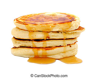 Pancakes isolated - Stack of breakfast pancakes with ...