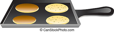 Illustration of pancakes cooking on a griddle pan