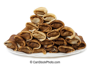 pancakes on a white background
