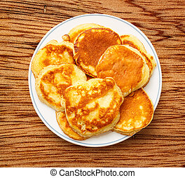 Pancakes on the white plate