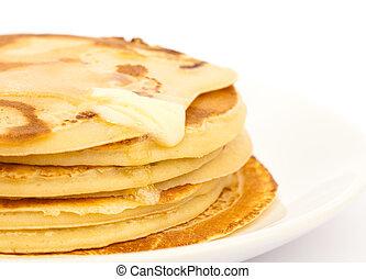pancakes, på, tallrik
