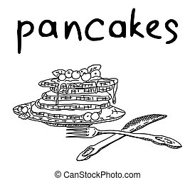 pancakes sketch drawing with inscription. vector