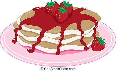 Pancakes Strawberry - A stack of pancakes with strawberry...