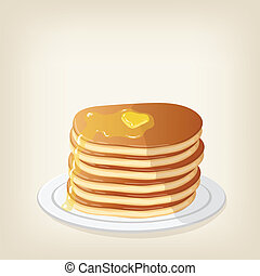 Pancakes with a piece butter - Adorable vector pancakes with...