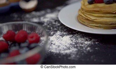 Pancakes with berries. 4k uhd footage