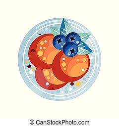 Pancakes with blueberries vector Illustration on a white background