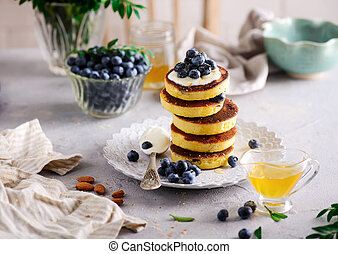 Pancakes with blueberry..style  .selective focus