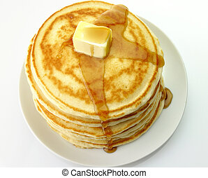 pancakes with butter and maple syrup. - Golden pancakes with...