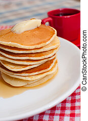 Pancakes With Butter and Maple Syrup - Pancakes With Butter...