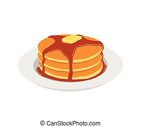 Pancakes with butter and maple syrup sweet on white plate