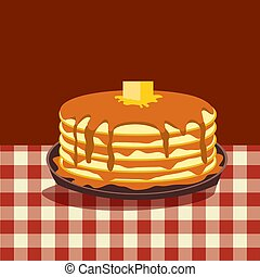 Pancakes with Butter and Syrup flat vector icon