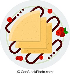 Pancakes with chocolate topping and berries vector icon flat isolated