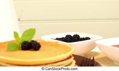 Pancakes with fresh blackberries - Delicious golden pancakes...