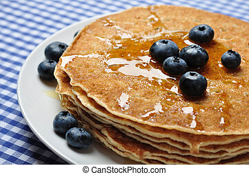 pancakes with fresh blueberries - Delicious pancakes close ...