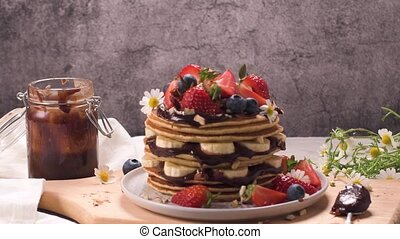 Pancakes with fruits and chocolate sauce - Pancakes with ...