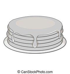 Pancakes with honey icon, black monochrome style