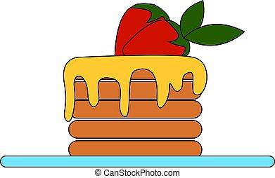 Pancakes with honey, illustration, vector on white background
