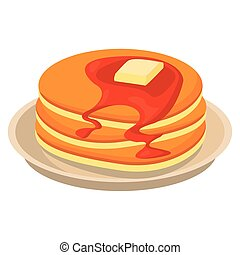 pancakes with honey in dish icon vector illustration design