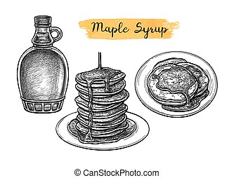 Pancakes with maple syrup. Ink sketch isolated on white background. Hand drawn vector illustration. Retro style.