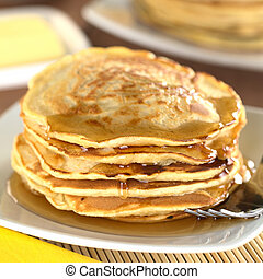 Pancakes with maple syrup - Fresh homemade pancakes with...