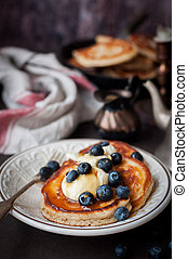 Pancakes with Mascarpone, Honey and Blueberries