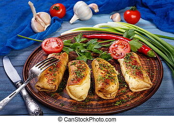 Pancakes with meat and fresh vegetables - Fresh pancakes ...