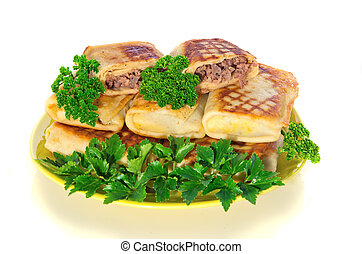 pancakes with meat on plate on white background