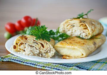 Pancakes with meat - pancakes stuffed with meat and greens ...