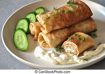 Pancakes with meat, Smetana ( sour cream)and slices of ...