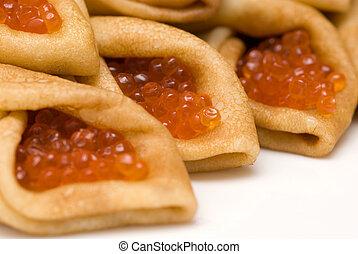 pancakes with red caviar 2