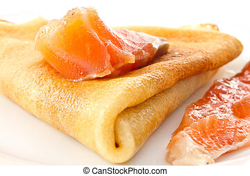 Pancakes with salted red fish
