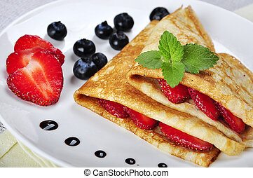 Pancakes with strawberries - Pancakes sereved with ...