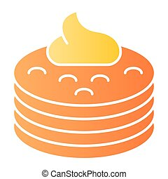 Pancakes with syrup flat icon. Pancakes with butter color icons in trendy flat style. Breakfast gradient style design, designed for web and app. Eps 10.