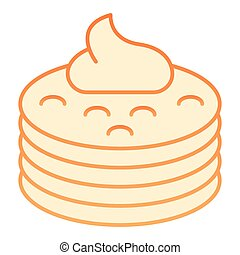 Pancakes with syrup flat icon. Pancakes with butter orange icons in trendy flat style. Breakfast gradient style design, designed for web and app. Eps 10.
