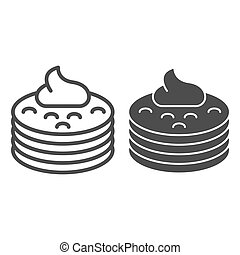 Pancakes with syrup line and glyph icon. Pancakes with butter vector illustration isolated on white. Breakfast outline style design, designed for web and app. Eps 10.
