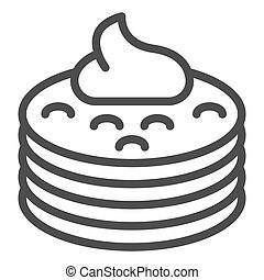 Pancakes with syrup line icon. Pancakes with butter vector illustration isolated on white. Breakfast outline style design, designed for web and app. Eps 10.
