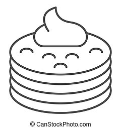 Pancakes with syrup thin line icon. Pancakes with butter vector illustration isolated on white. Breakfast outline style design, designed for web and app. Eps 10.