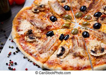 pancetta affumicata, pizza