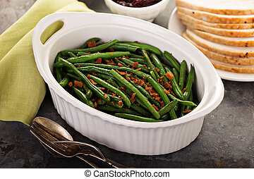 pancetta affumicata, ringraziamento, o, cena, fagioli verdi,...
