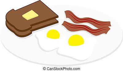 pancetta affumicata, uova, piastra
