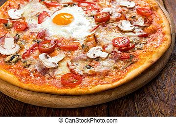 pancetta affumicata, uovo, funghi, delizioso, pizza