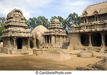 panch, -, インド, rathas, mahabalipuram