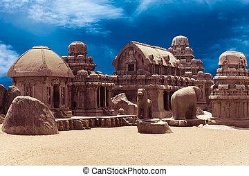Panch Rathas Monolithic Hindu Temple in Mahabalipuram. Great South Indian architecture, UNESCO World Heritage Site. South India, Tamil Nadu, Mahabalipuram
